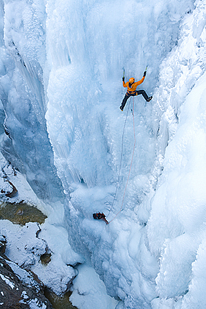 Jon Varco ice climbing at the Ice Park, Ouray Colorado.