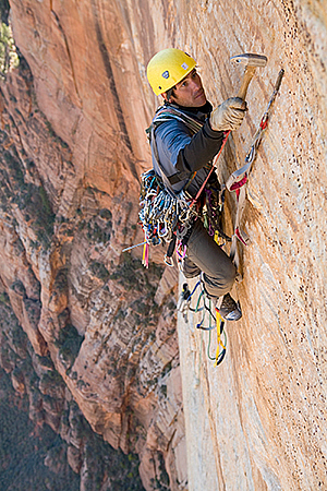 Matt Erdmann solo on the Streaked Wall, Zion National Park